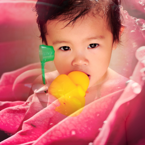 yellow duck in month taking shower beautiful baby